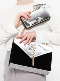 Çanta&Cüzdan İkili Takım - Gümüş Siyah - Sitill