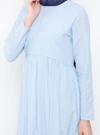 Blue - Stripe - Crew neck - Fully Lined - Dresses