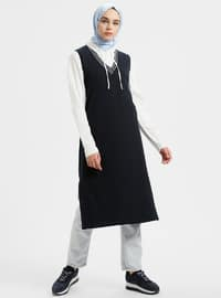 Navy Blue - V neck Collar - Cotton - Tunic