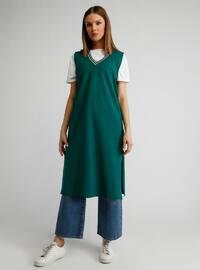 Green - V neck Collar - Cotton - Tunic