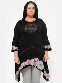 Black - Pink - Gray - Multi - Crew neck - Plus Size Tunic