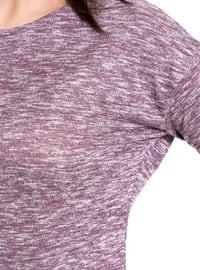 Purple - Crew neck - Blouses
