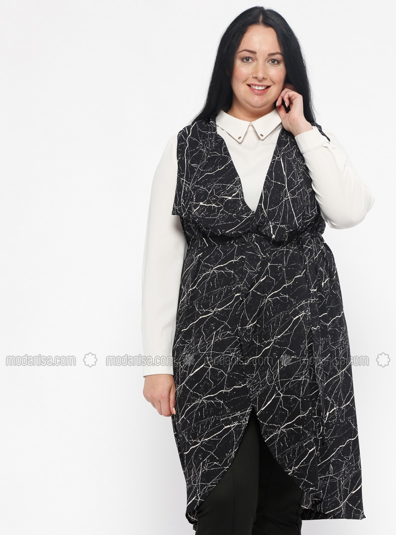 Black - Gray - Multi - Shawl Collar - Plus Size Vest