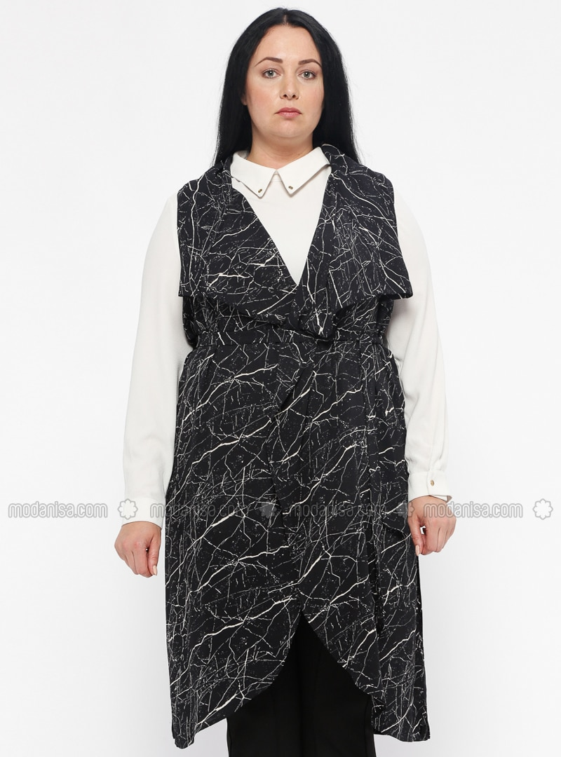 abfd6af93c08b Black - Gray - Multi - Shawl Collar - Plus Size Vest