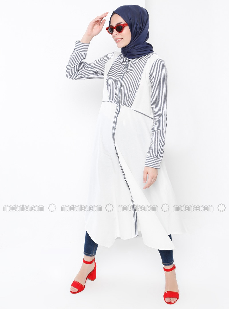Navy Blue - Ecru - Stripe - Point Collar - Tunic
