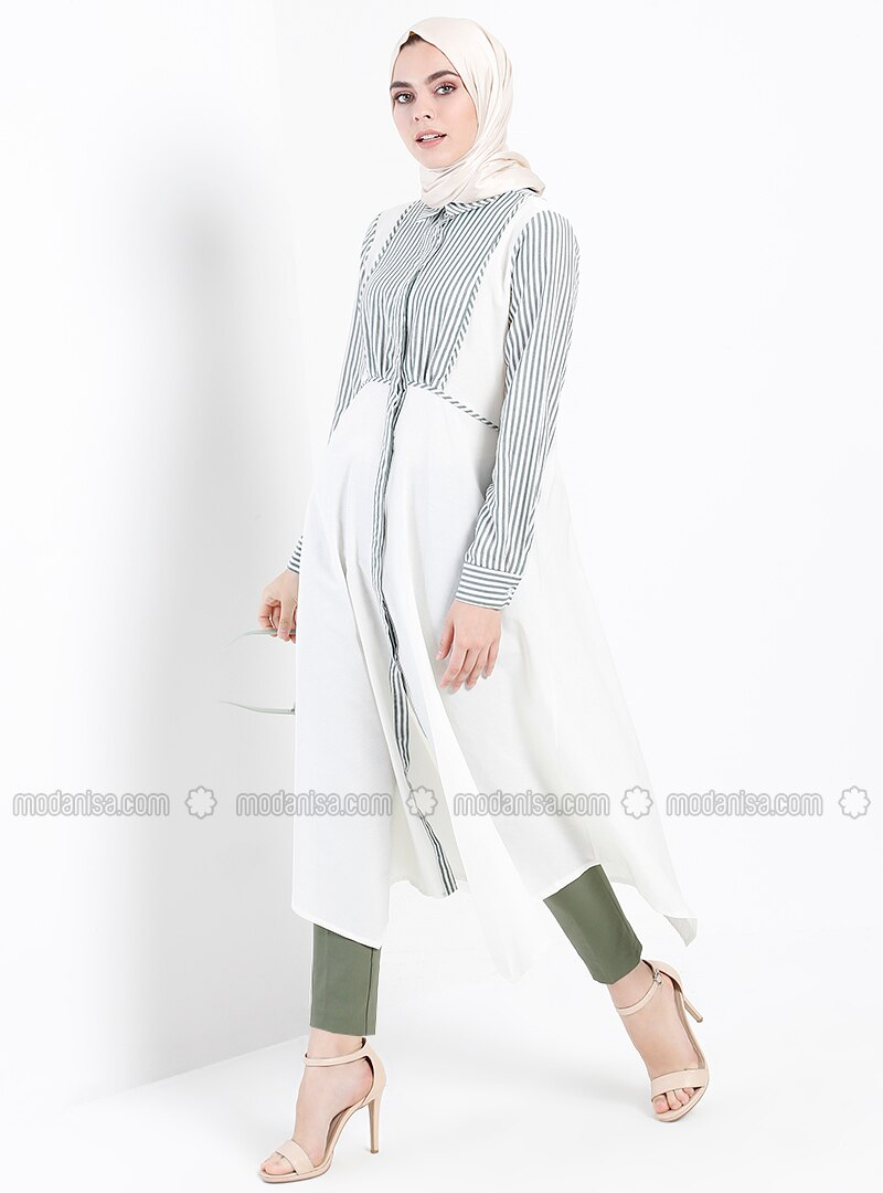 Green - Ecru - Stripe - Point Collar - Tunic
