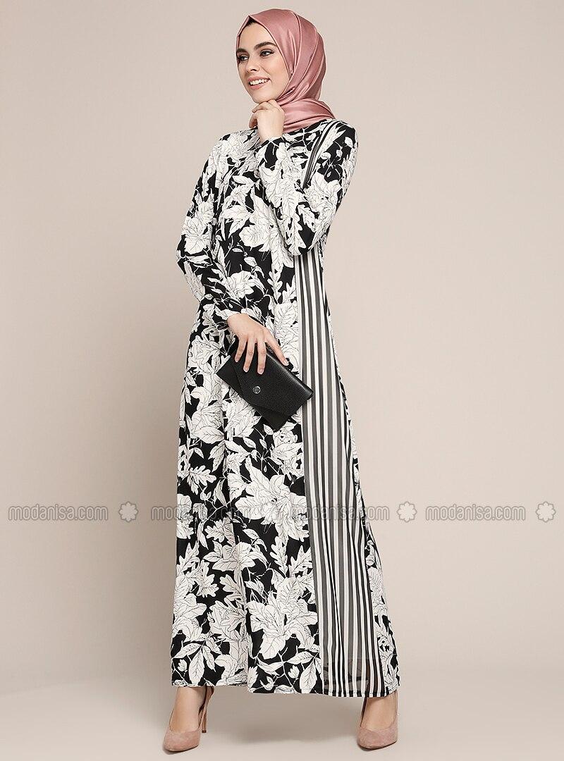 5fd42313ebab0 Doğal Kumaşlı Çiçekli Elbise - Siyah
