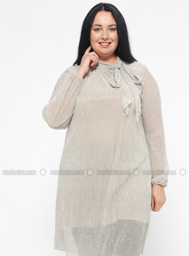 Beige - V neck Collar - Plus Size Tunic