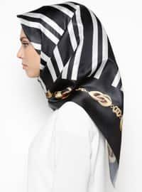 Black - White - Printed - Scarf - Renkli Butik