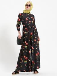 Black - Floral - Unlined - Crew neck - Jumpsuit