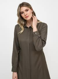 Khaki - Point Collar - Viscose - Plus Size Tunic