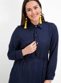 Navy Blue - Point Collar - Viscose - Plus Size Tunic