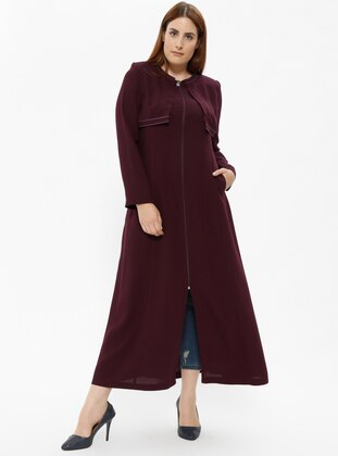 Plum - Unlined - Crew neck - Plus Size Coat