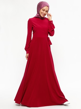 Maroon - Crew neck - Fully Lined - Dresses - Minel Ask 457778