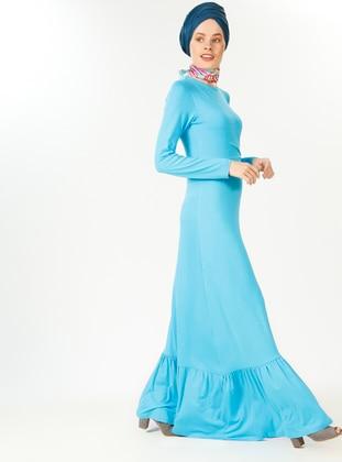 Turquoise - Crew neck - Dresses