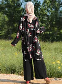 Black - Floral - Crew neck - Tunic