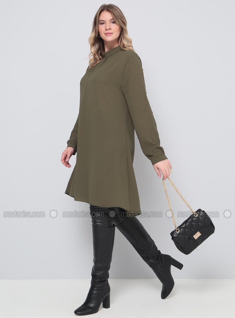 Khaki - Polo neck - Plus Size Tunic