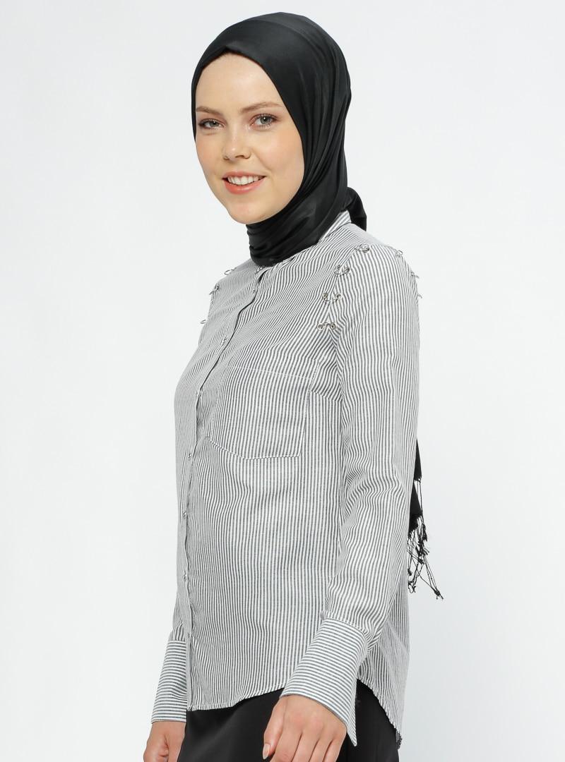 Tesettür Bluz Gömlek Mileny Gri Kadın 36