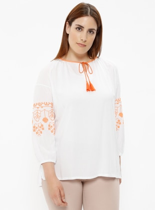 White - Crew neck - Plus Size Blouse