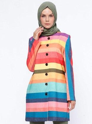Coral - Stripe - Unlined - Crew neck - Jacket