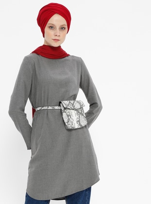 Gray - Crew neck - Viscose - Tunic