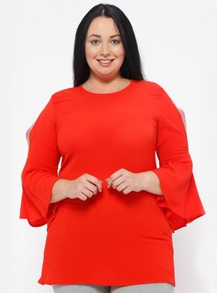 Coral - Crew neck - Plus Size Blouse