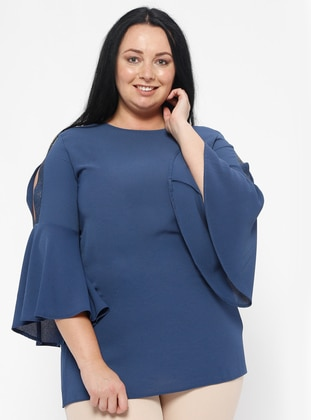 Blue - Crew neck - Plus Size Blouse