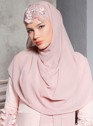 Pink - Powder - Dusty Rose - Lace - Shawl
