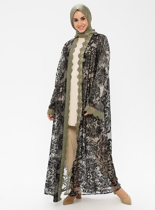 Green - Floral - Unlined - Abaya