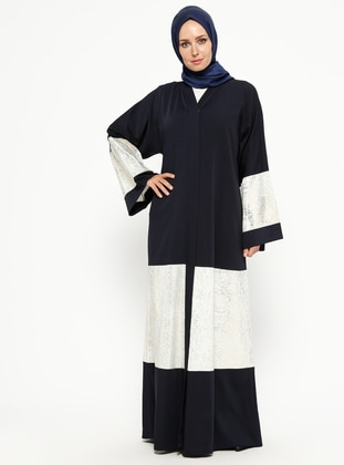 Navy Blue - Unlined - V neck Collar - Abaya