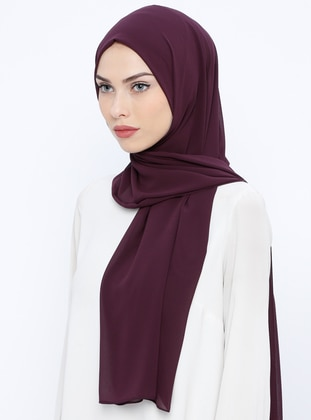 Purple - Plain - Chiffon - Shawl