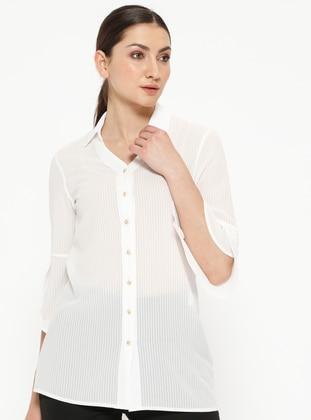 White - Ecru - Point Collar - V neck Collar - Blouses