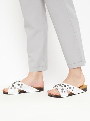 White - Ecru - Sandal - Slippers