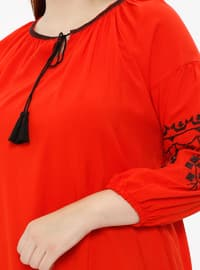 Red - Crew neck - Plus Size Blouse