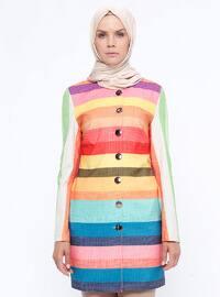 Multi - Mint - Stripe - Unlined - Crew neck - Jacket