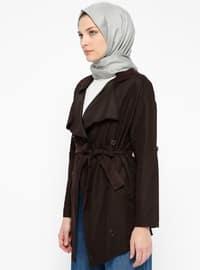 Black - Unlined - Shawl Collar - Trench Coat