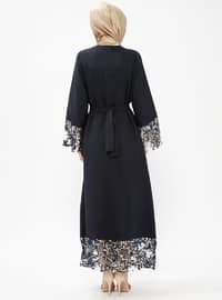 Navy Blue - Golden tone - Unlined - Crew neck - Abaya
