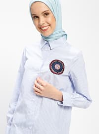 Blue - Stripe - Point Collar - Tunic