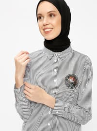 White - Stripe - Point Collar - Tunic