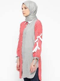 Coral - Stripe - Point Collar - Tunic