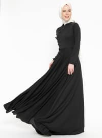 İnci Detaylı Elbise - Siyah - XTREND