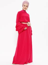 Pink - Fuchsia - Crew neck - Unlined - Dresses