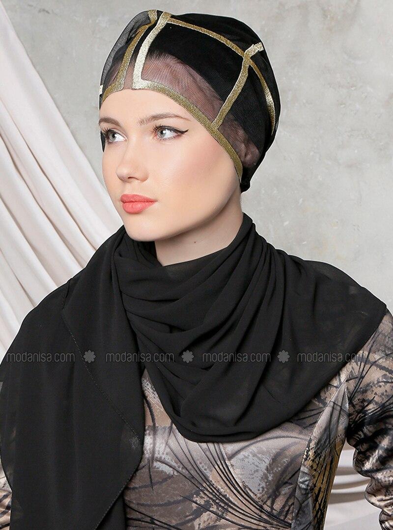 Black - Golden tone - Plain - Chiffon - Shawl