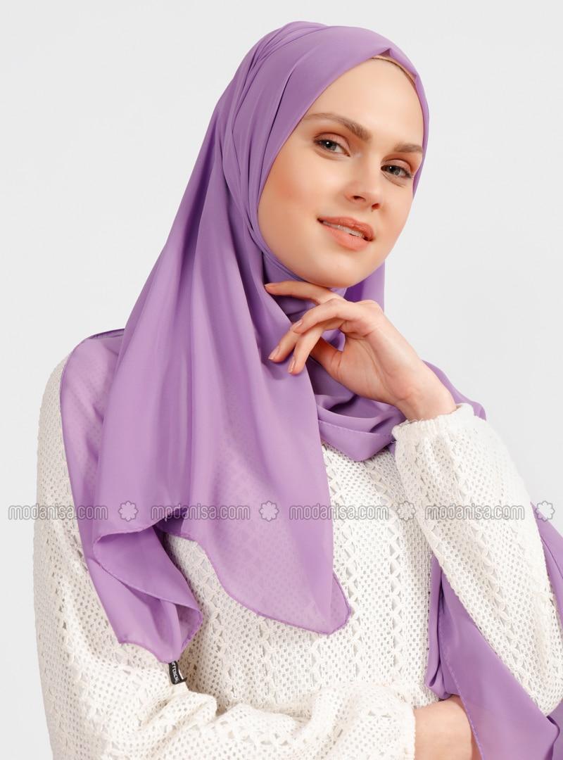 Lilac - Plain - Chiffon - Shawl