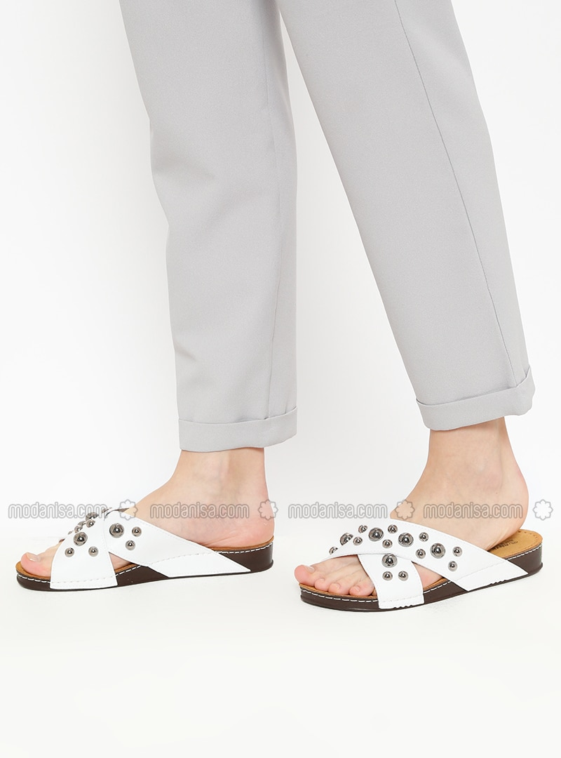 White - Ecru - Sandal - Slippers