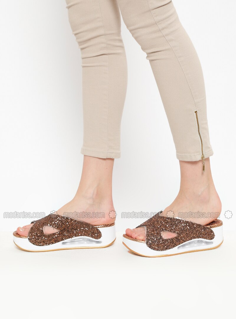 Brown - Tan - Metallic - Sandal - Slippers