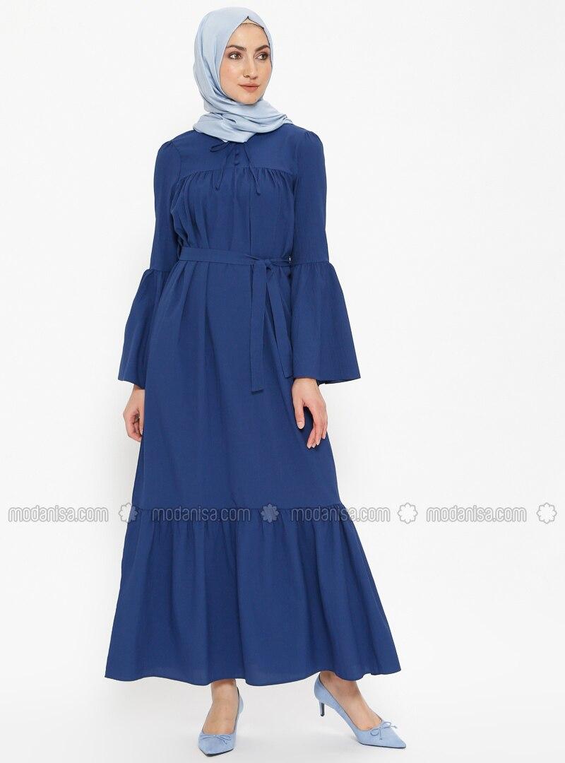 Blue - Indigo - Crew neck - Unlined - Dresses