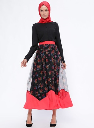 Red - Multi - Fully Lined - Skirt