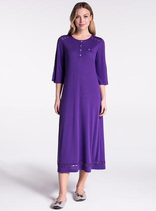 Purple - Crew neck - Nightdress