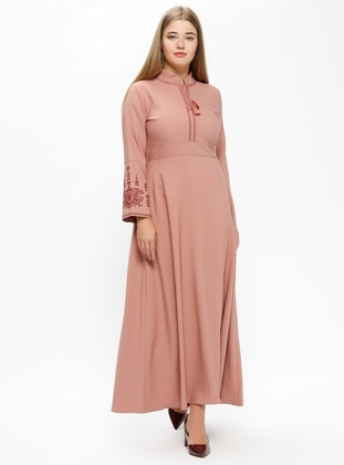 Dusty Rose Unlined V Neck Collar Plus Size Dress